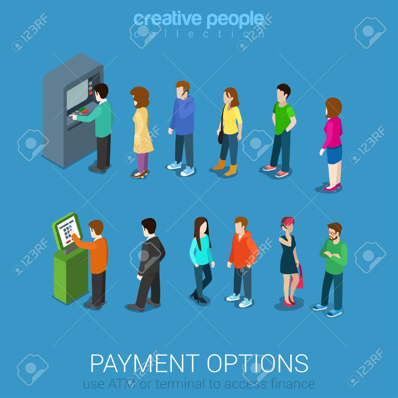 Payment options banking finance money flat 3d web isometric infographic vector. Line of casual young modern men women waiting ATM and terminal. Creative people collection. Stock Vector - 48577341