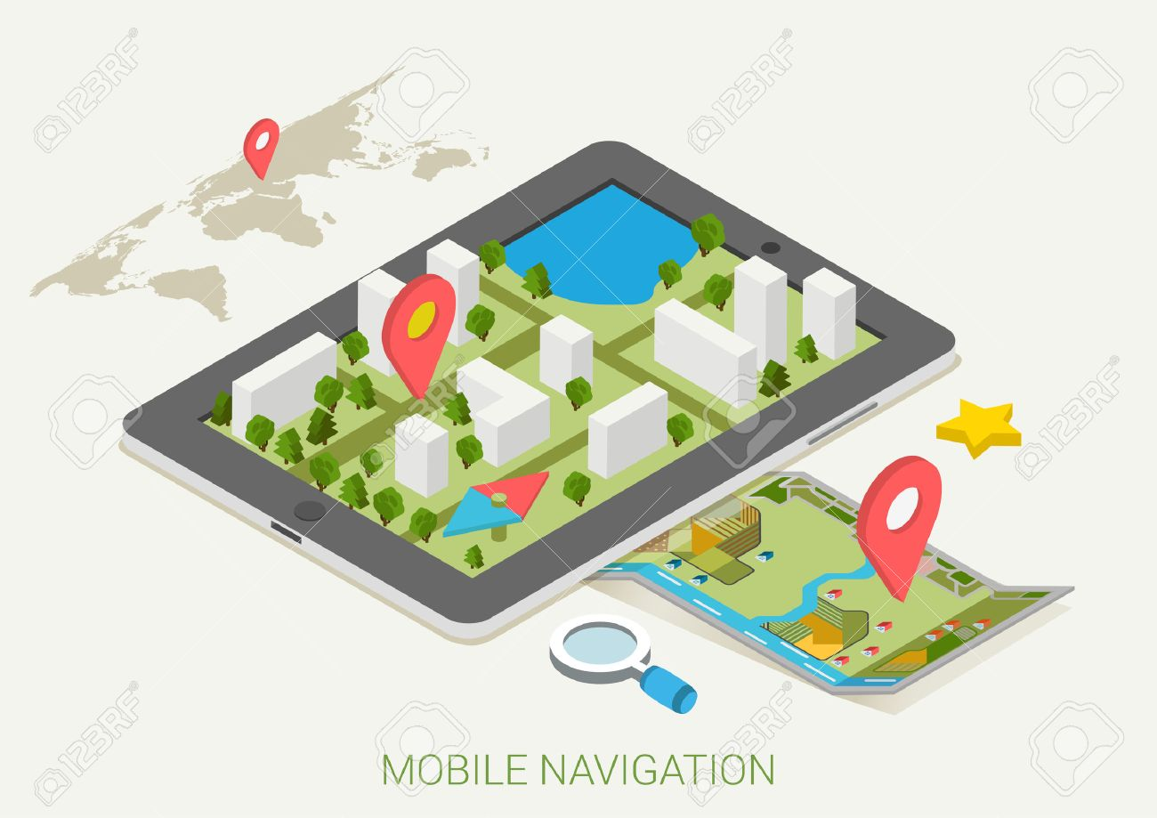 Flat D Isometric Mobile GPS Navigation Maps Infographic Concept - Search satellite maps