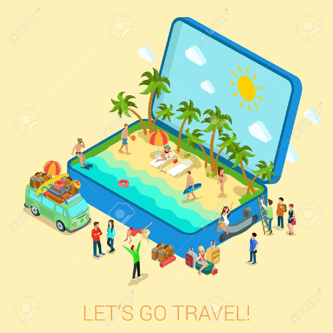 Summertime Travel Beach Vacation Flat 3d Web Isometric Infographic Tourism Concept Vector Template Open Suitcase