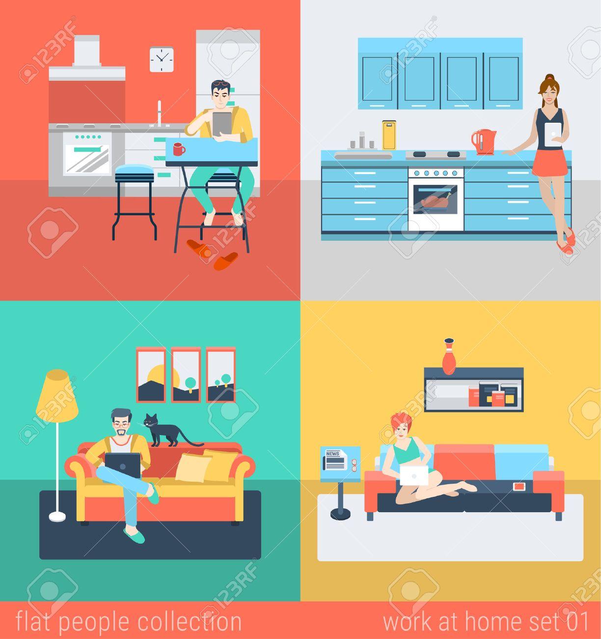 Set Des Jungen Mannes Frau Freiberufliche Hausaufgaben In Küche Sofa ...