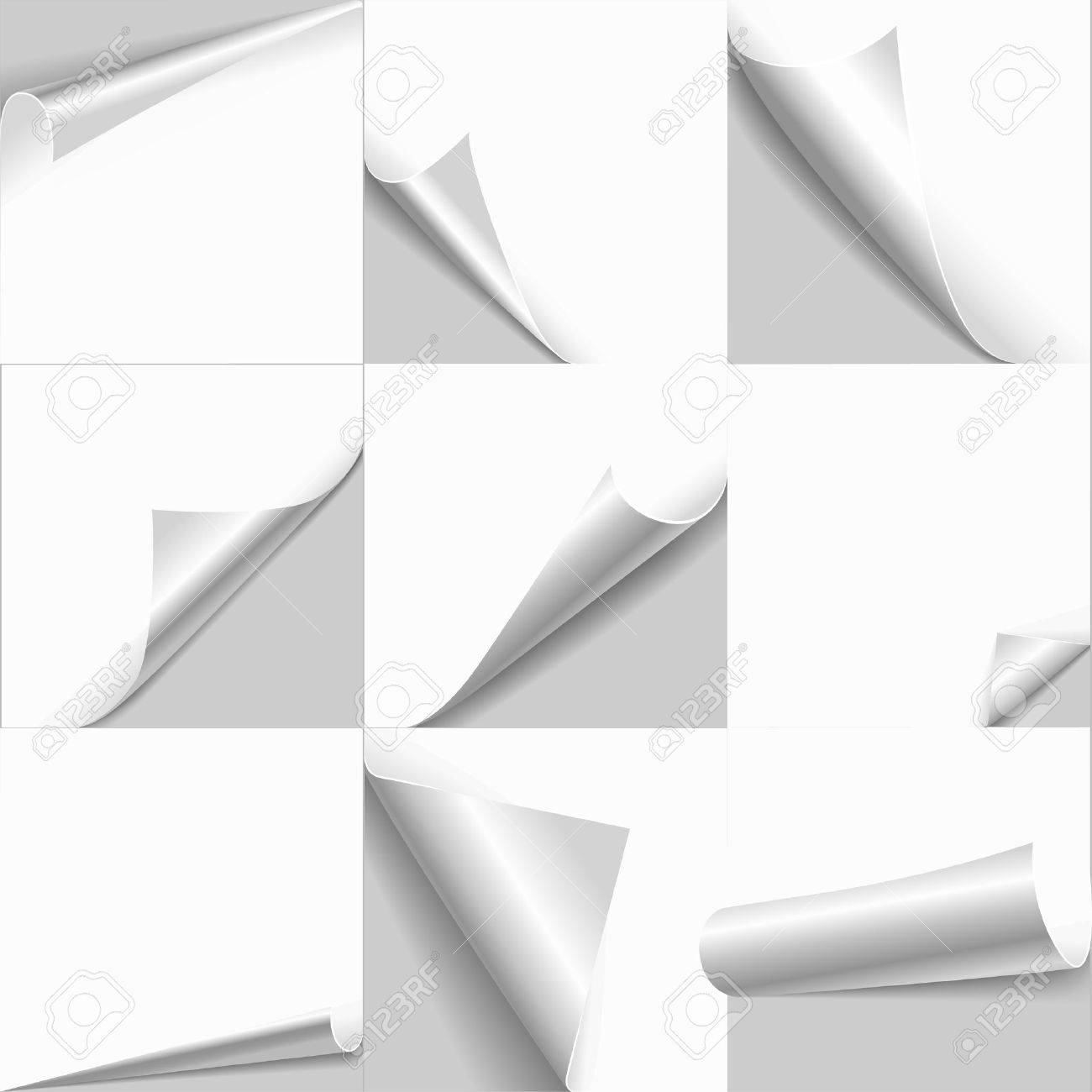 Creative Page Curl Rolled Set. Web Background Templates Of Empty ...