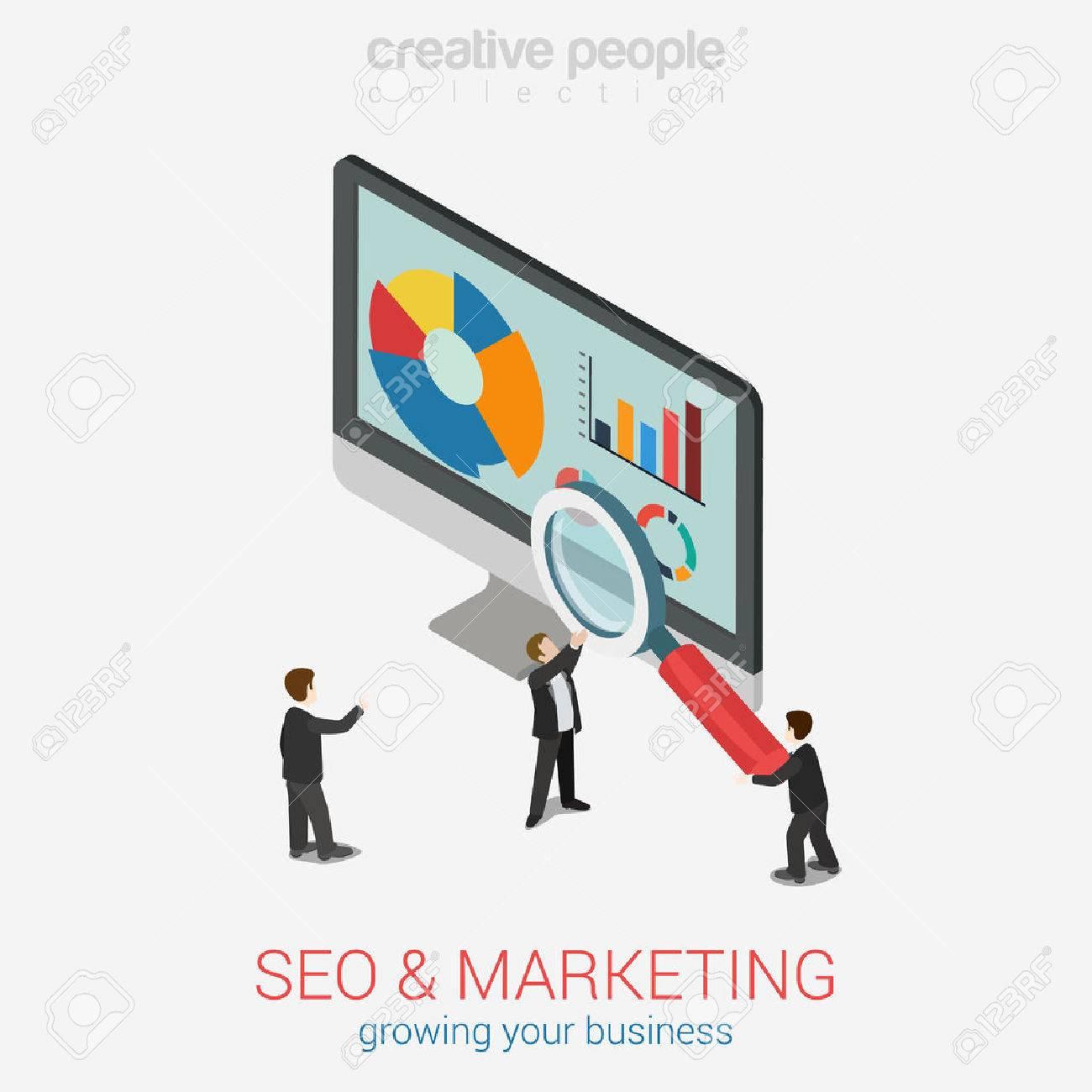 seo marketing website analytics report flat 3d web isometric