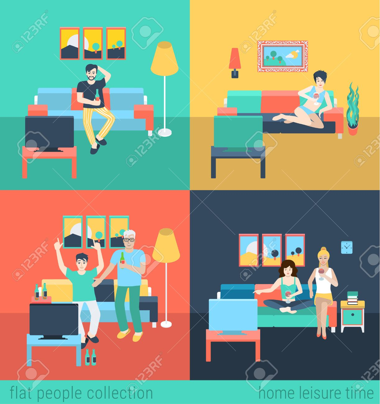 Set Of Friends Family In Living Room Watch TV Leisure Flat People Lifestyle Situation