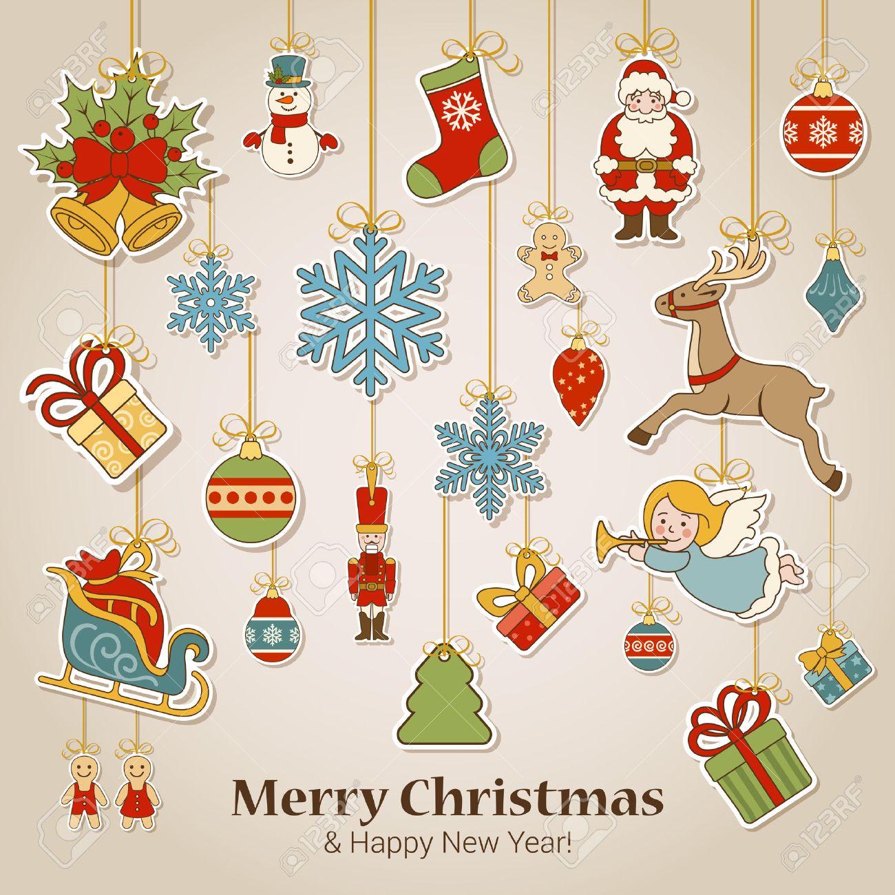 Feliz Navidad Y Feliz Año Nuevo Decoraciones De La Etiqueta Engomada ...