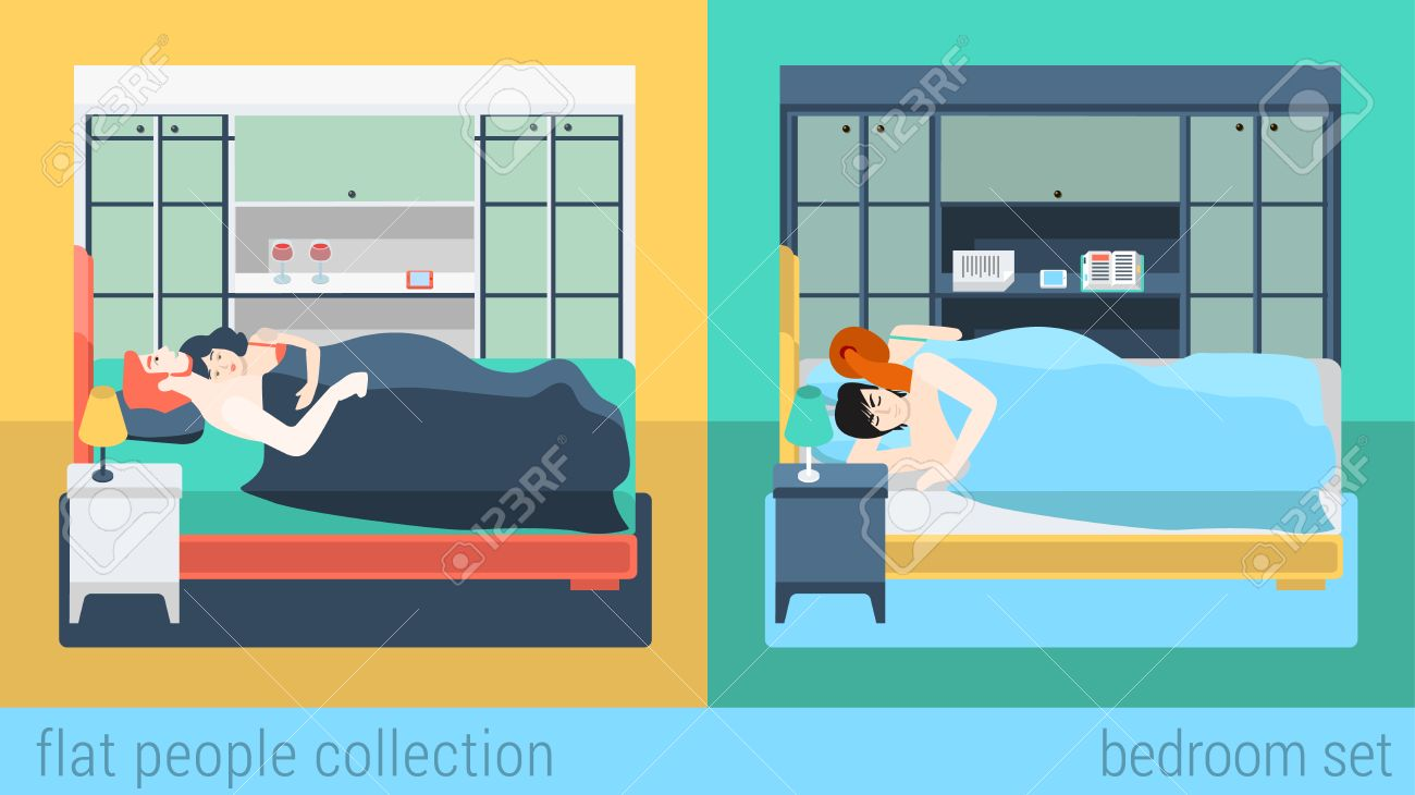 Set of family couple in bedroom bed sleeping sex love romance flat people lifestyle situation