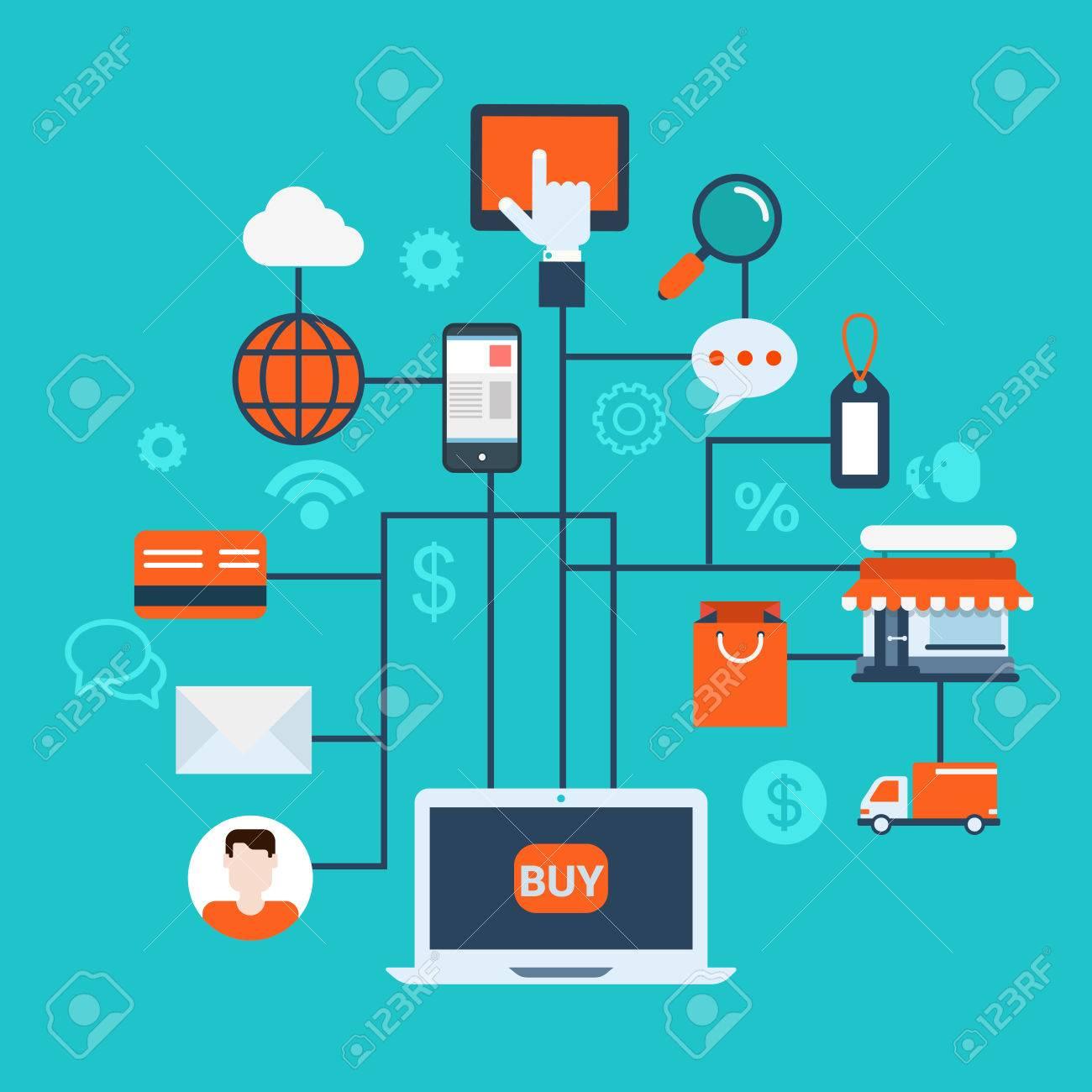 Flache Web-Infografik-Stil Moderne Online-Shop, E-Commerce Vielfalt ...