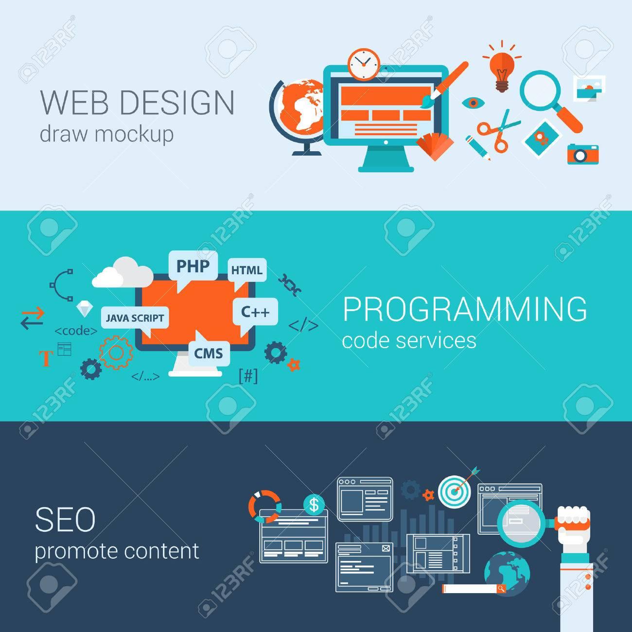 Programación Diseño Web Concepto SEO Web Banners Plana Plantilla De ...