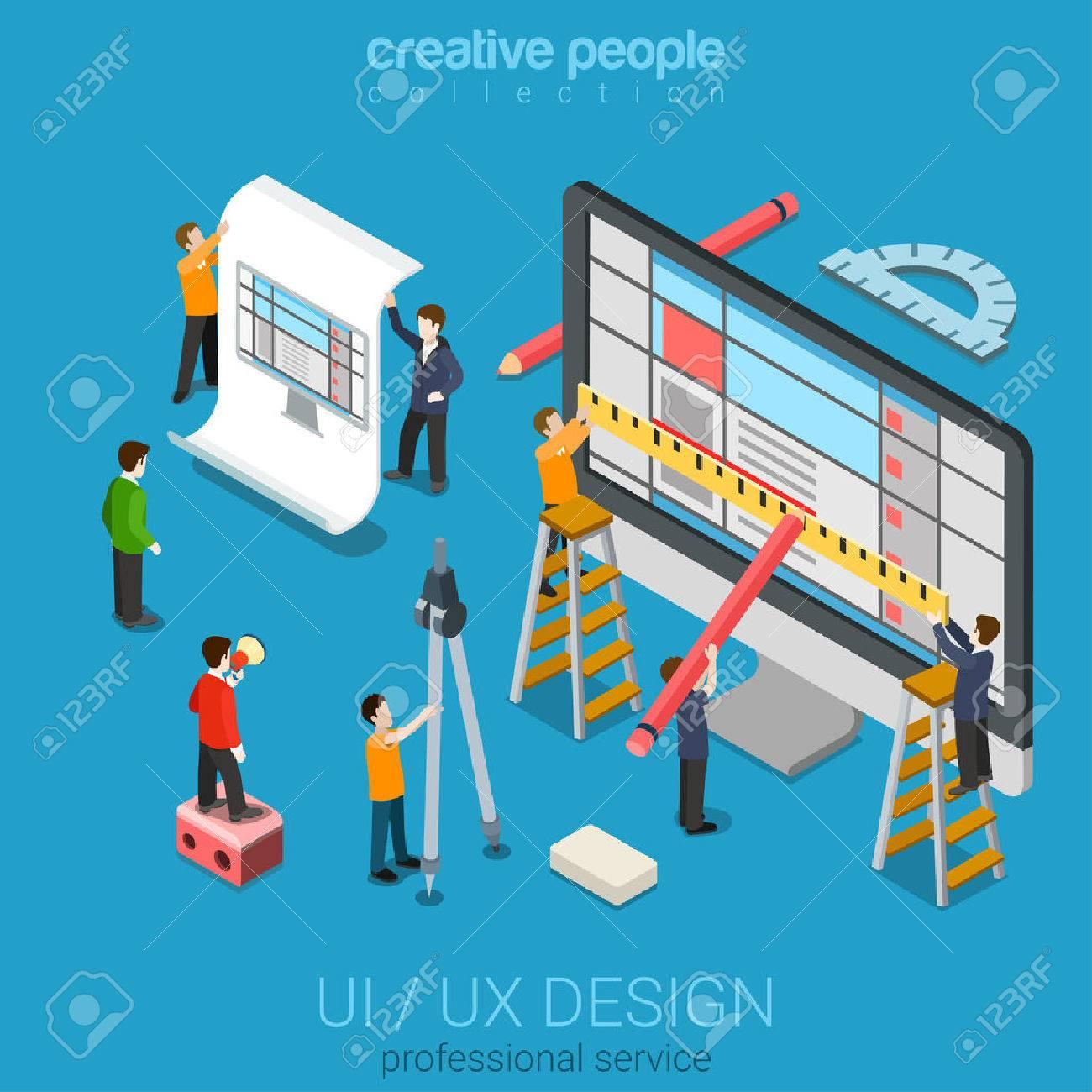 Flat 3d isometric desktop UI/UX design web infographic concept