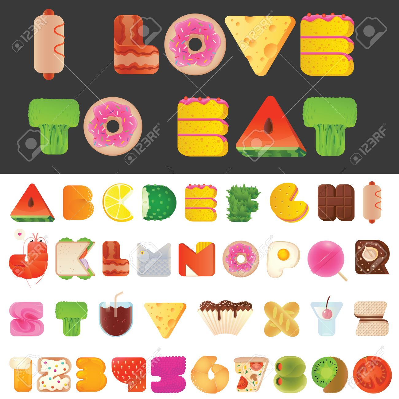 Stylish Yummy Funny Food Letters And Numbers Latin Font Snack A To Z Typeset Alphabet