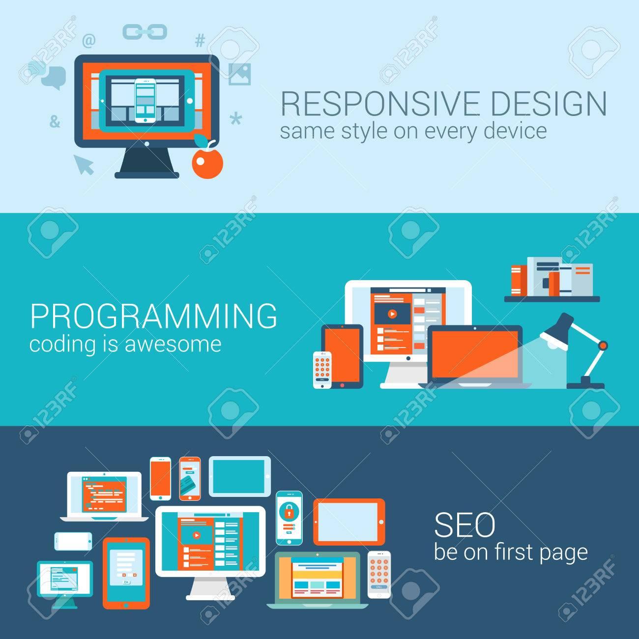 Programación Diseño Web Concepto SEO Plana Web Banners Conjunto De ...