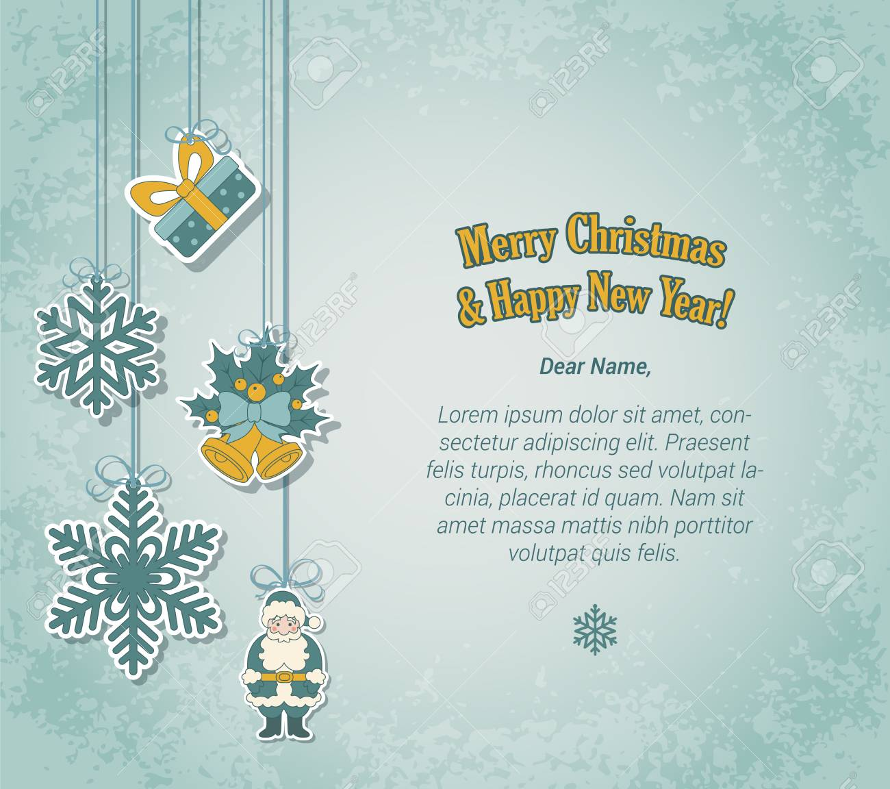 creative christmas and new year postcard template in sticker label style holiday tree decorations on