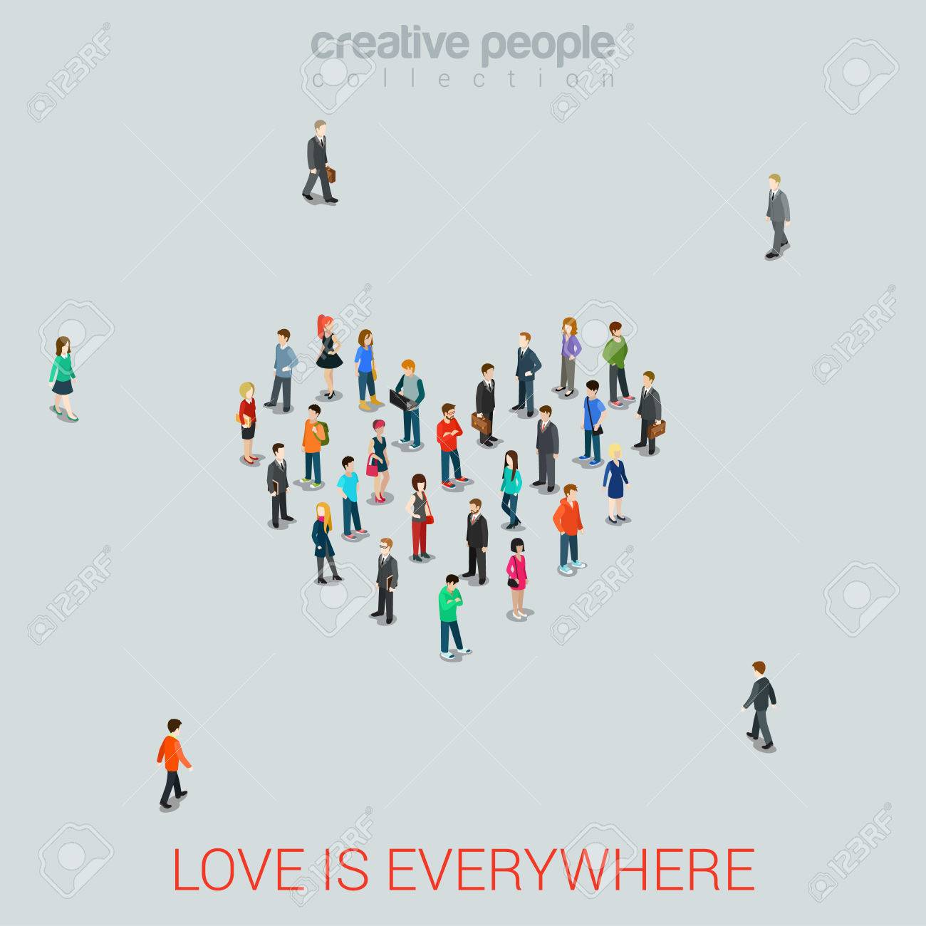 People standing as Heart shape flat isometric 3d style vector illustration. Love concept idea. Creative people collection. Stock Vector - 48578505