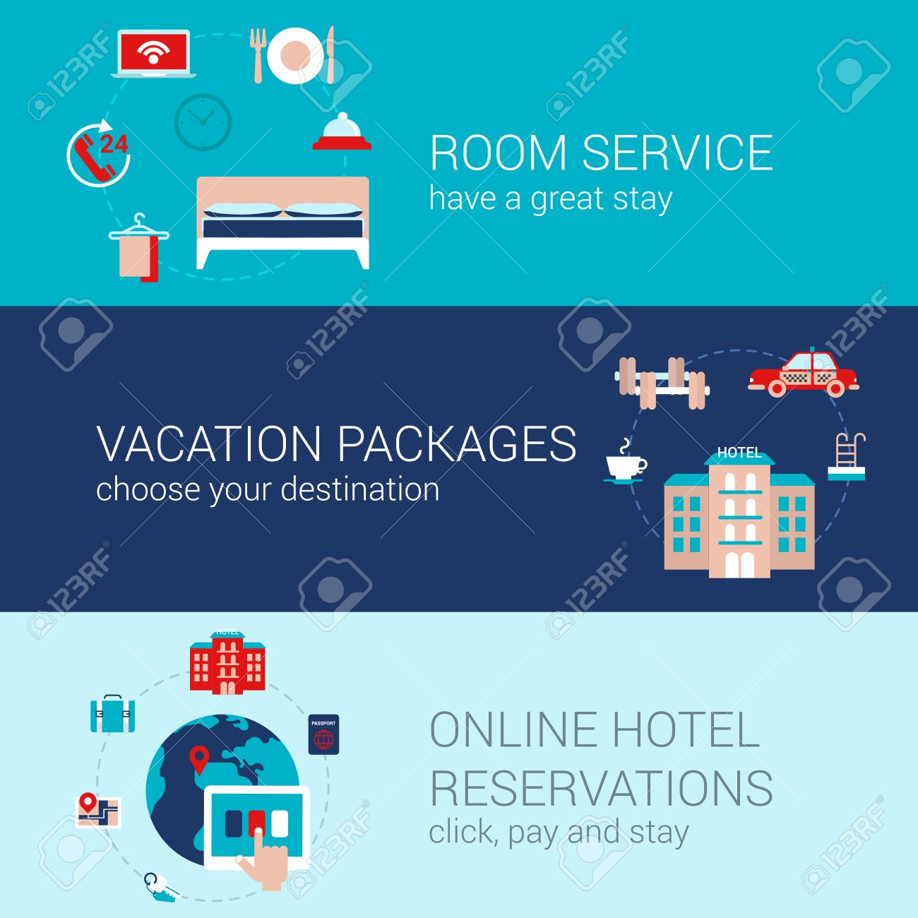 Hotel Booking Travel Business Concept Flat Icons Banners Template Set Room Service Vacation Tourism Packages Online