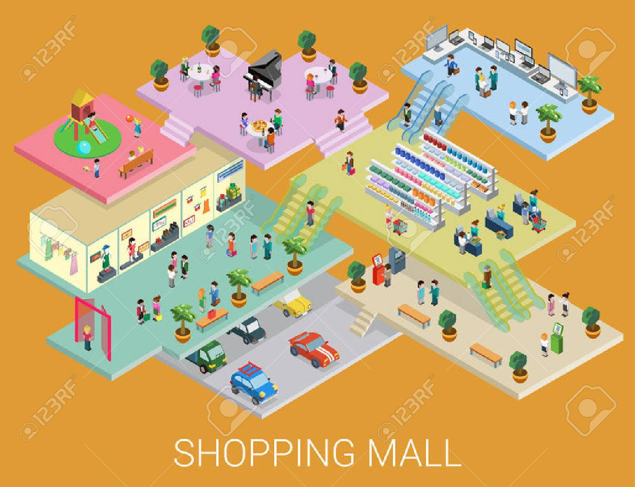 Flat 3d isometric shopping mall concept vector. City shopping center, boutique gallery indoor interior floors with walking shoppers. Sale, entertainment, multi-use, retail store business concept. - 48578572