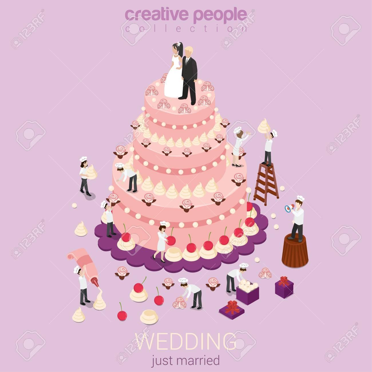 Wedding Cake Cream Tart Micro Just Married Couple Groom Bride