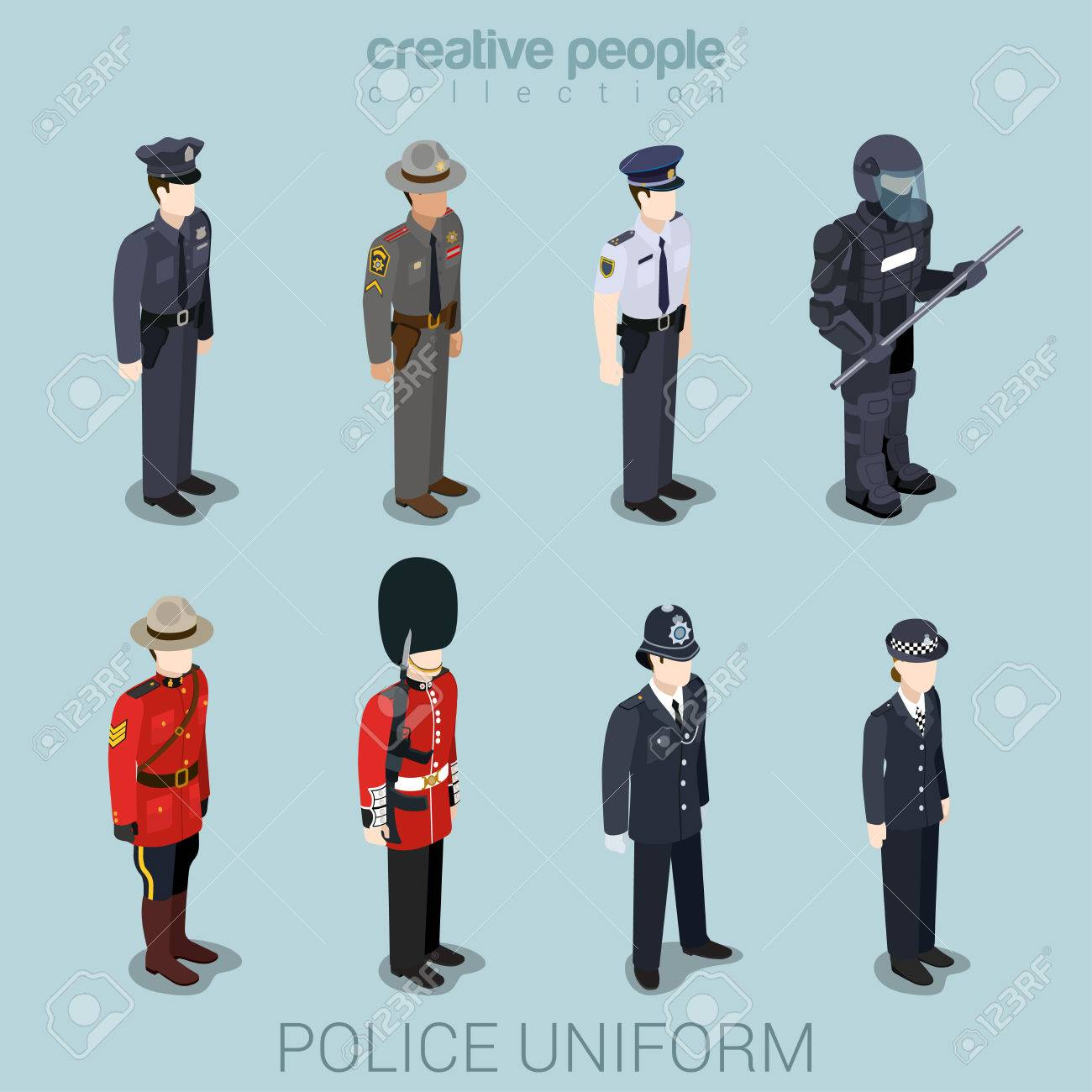 Police officer commander patrol SWAT people in uniform flat isometric 3d game avatar user profile icon vector illustration set. Creative people collection. Build your own world. Stock Vector - 48578748