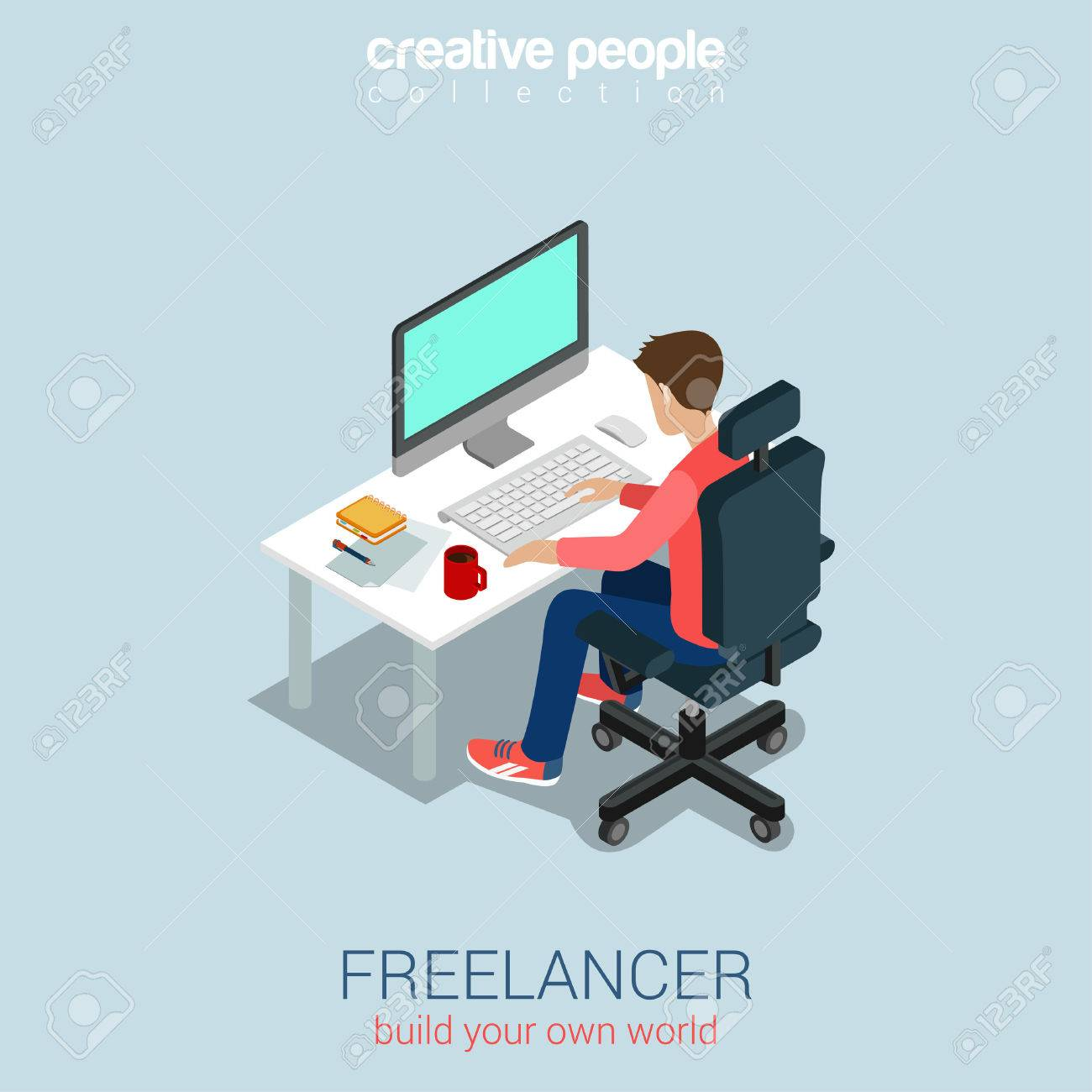 Freelancer at work flat 3d web isometric infographic concept vector. Build your own world creative people collection. Stock Vector - 48578751