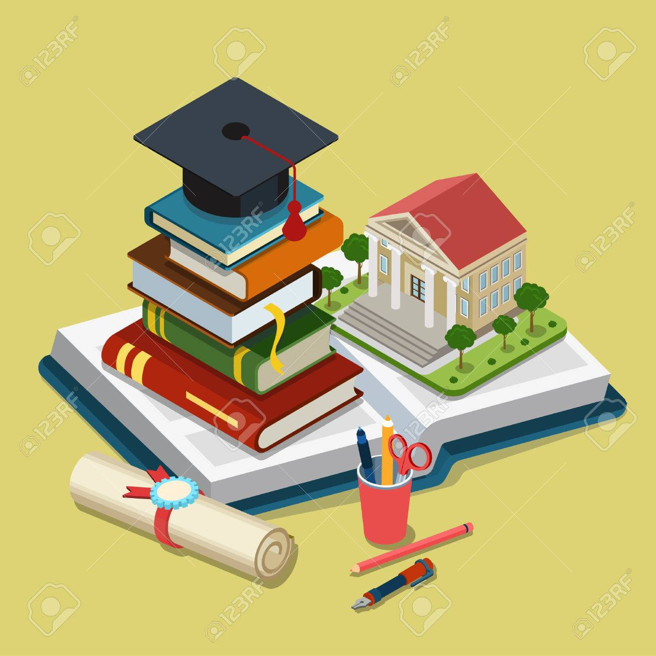 College university education graduation flat 3d web isometric Stock Vector - 54532912