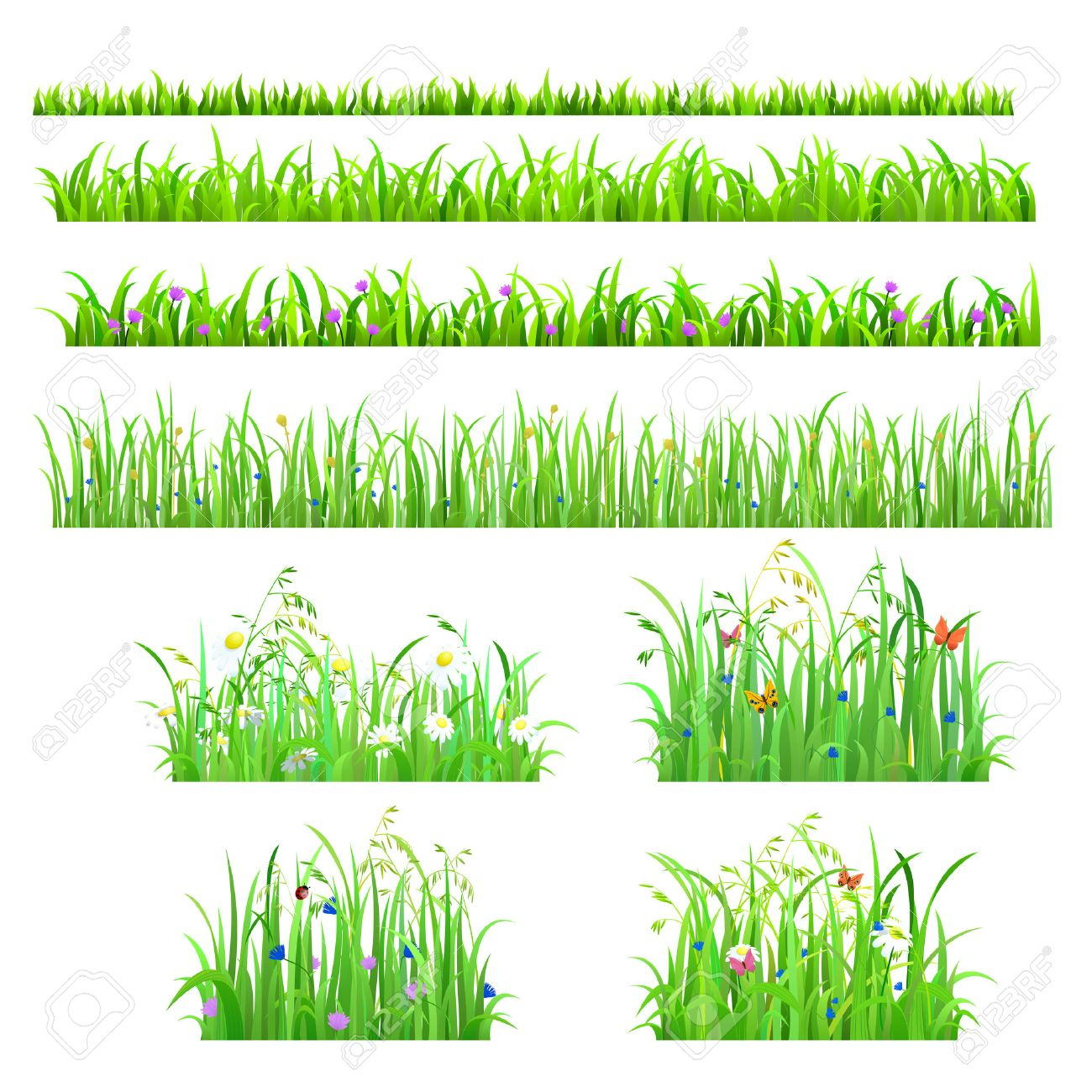 Set of 8 seamless nice shiny fresh flower butterfly grass lines isolated background. Nature spring summer backgrounds collection. Stock Vector - 48578765