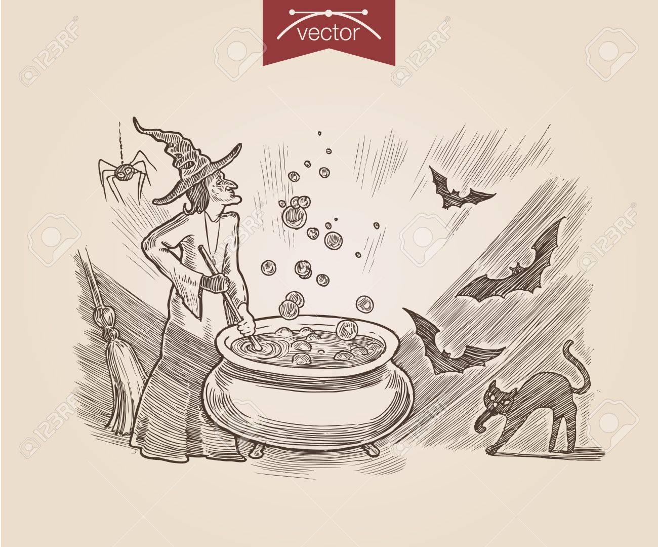 Halloween Poison De Cuisson Aux Sorcieres Chat Noir Bat Handdrawn