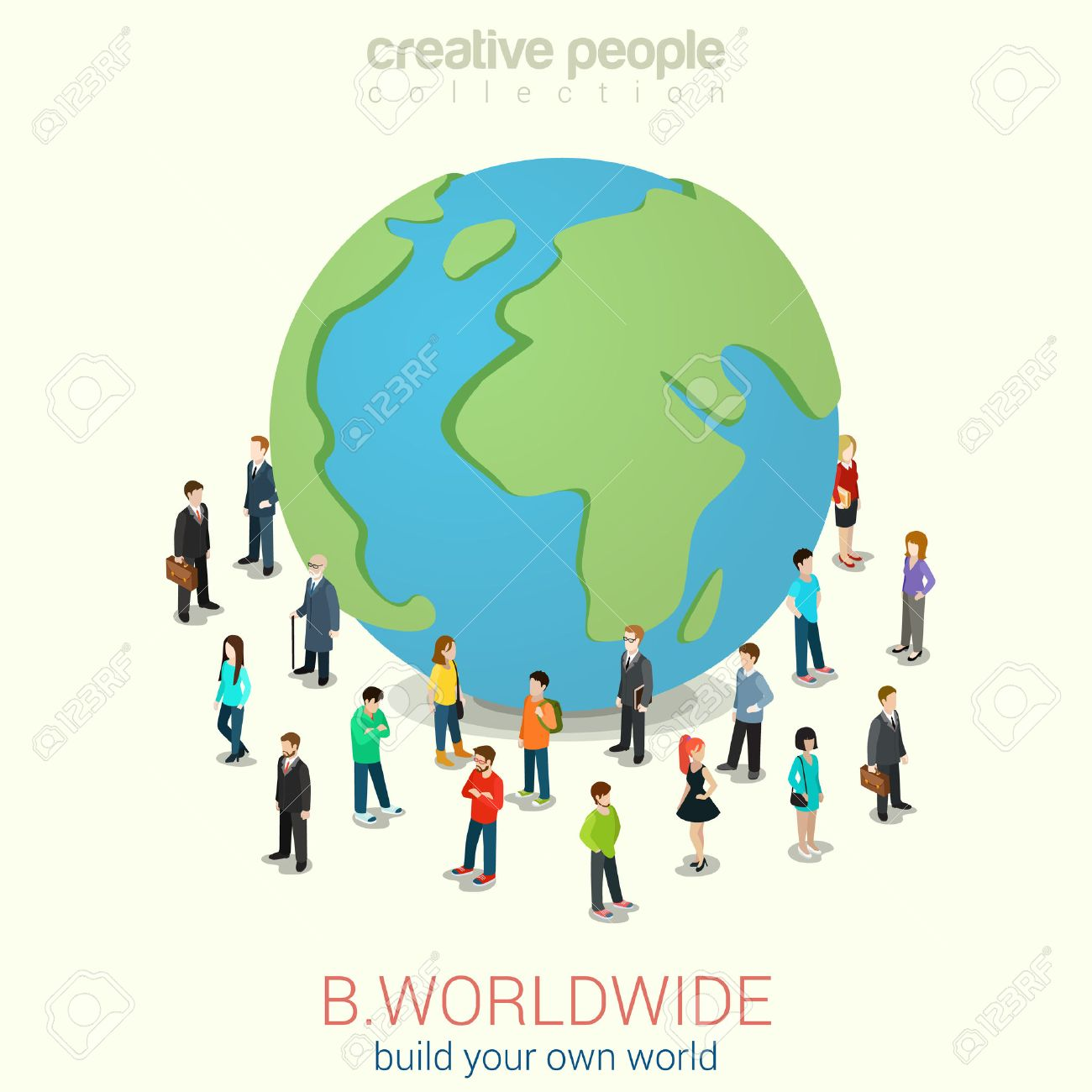 Be worldwide cosmopolitan globalization flat 3d web isometric infographic concept vector. Micro people standing around huge earth planet globe. Creative people collection. Stock Vector - 48578833