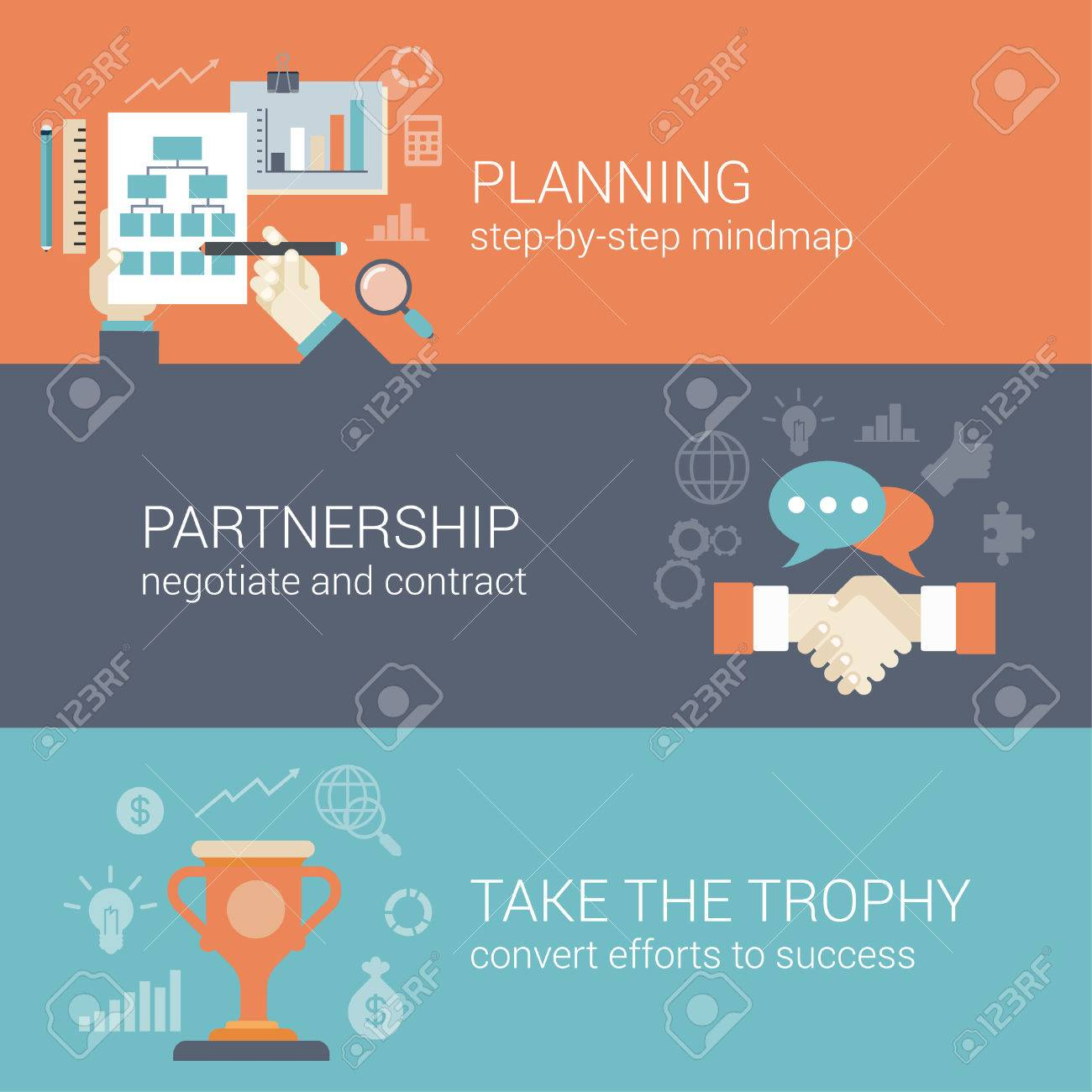 Flat style business planning, partnership and success results process infographic concept. Hand drawing strategy chart mindmap, contract handshake, trophy cup web site icon banners templates set. Stock Vector - 48578834