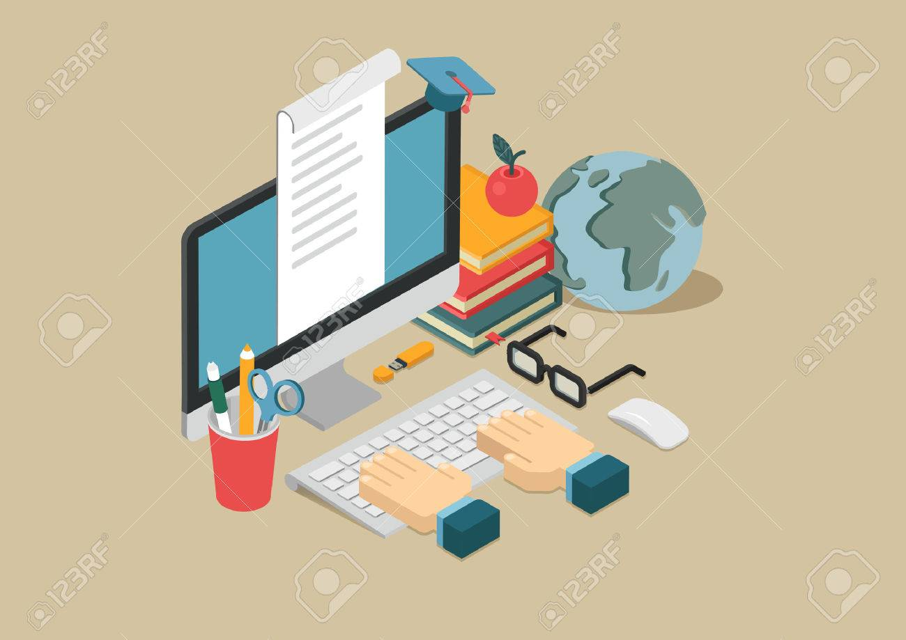 Flat 3d web isometric online education, e-learning, courses infographic concept vector. Arms on keyboard, apple, desktop computer, globe, books, flash drive, document, graduation cap. Stock Vector - 48578837