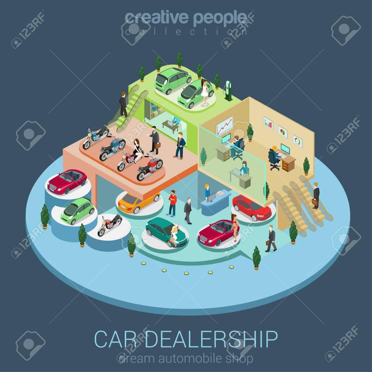 Flat 3d isometric car dealership sale concept vector. Sedan, electric car, convertible cabrio, luxury, motorbike indoor interior floors walking shoppers. Multi-use vehicle salon store business concept - 48578843