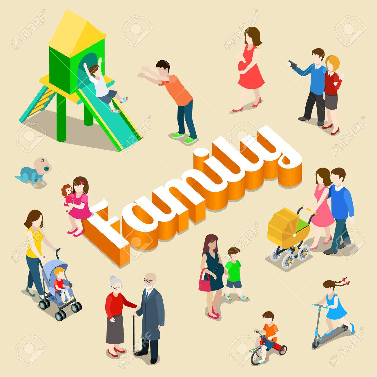 Family modern lifestyle flat 3d web isometric infographic vector. Young joyful parents micro male female group parenting mother father dad mom huge letters. Creative people collection. Stock Vector - 48578844