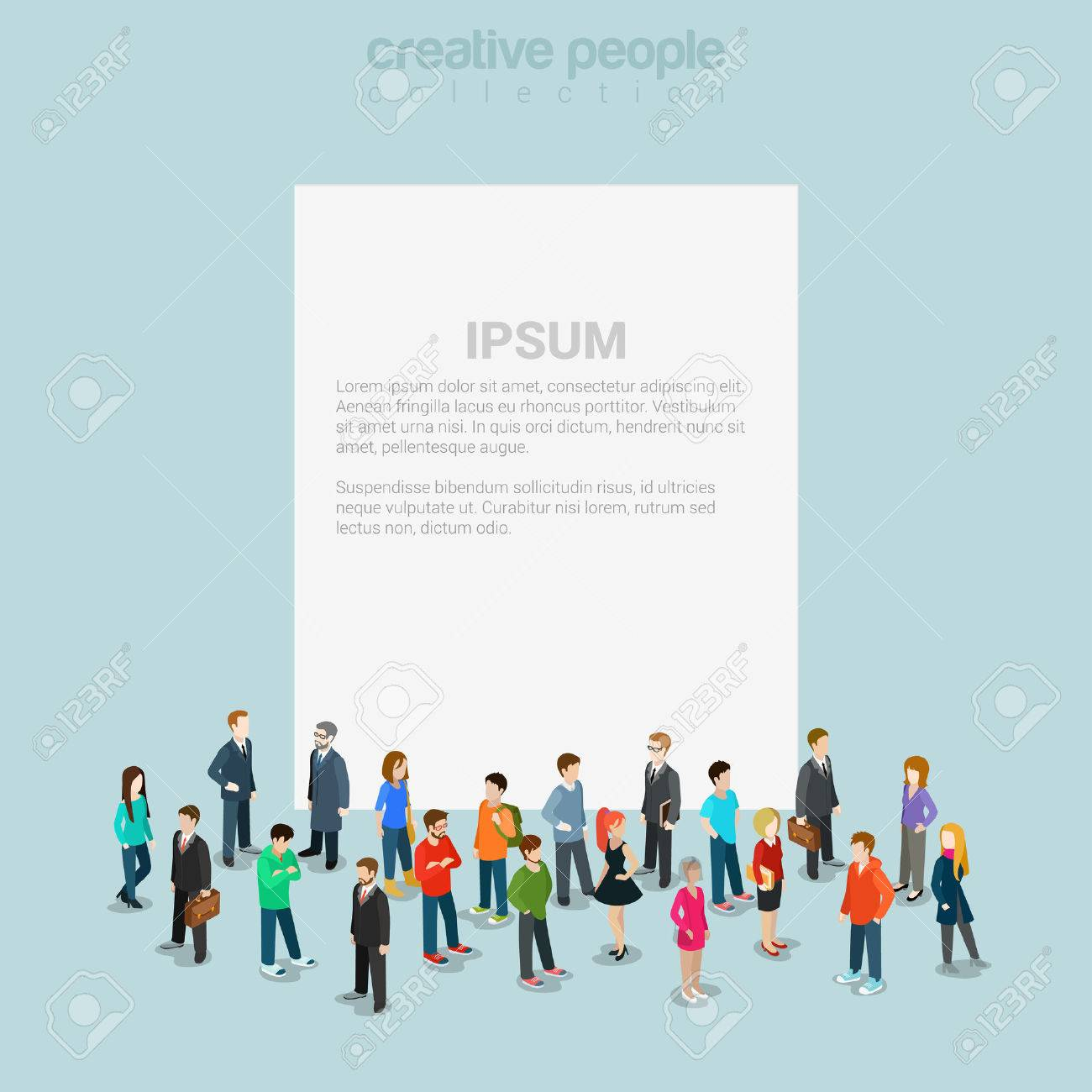 Blank banner template crowd micro people flat 3d web isometric - 54532911