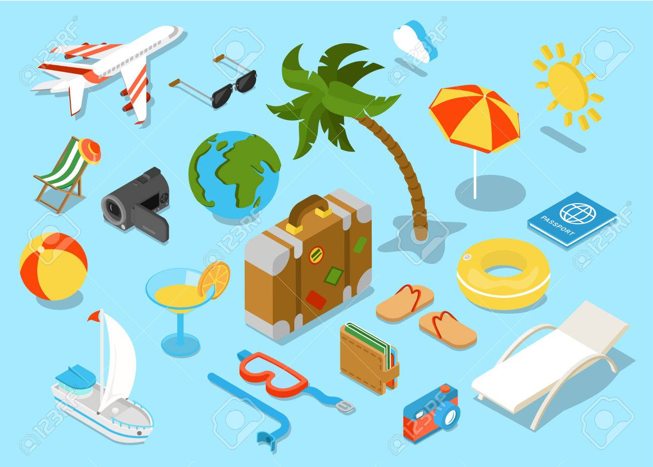 Flat 3d isomectric travel objects icon set