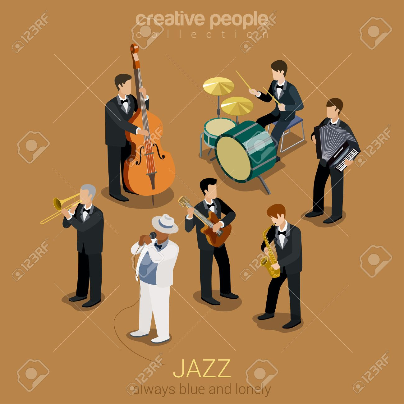 Jazz music band flat 3d web isometric infographic concept vector. Group of creative young people playing on instruments blues scene concert. Guitar sax cello accordion trombone. Creative collection. Stock Vector - 48579015