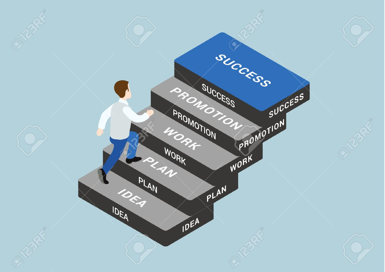 Business Concept Steps To Succeed Flat 3d Web Isometric ...