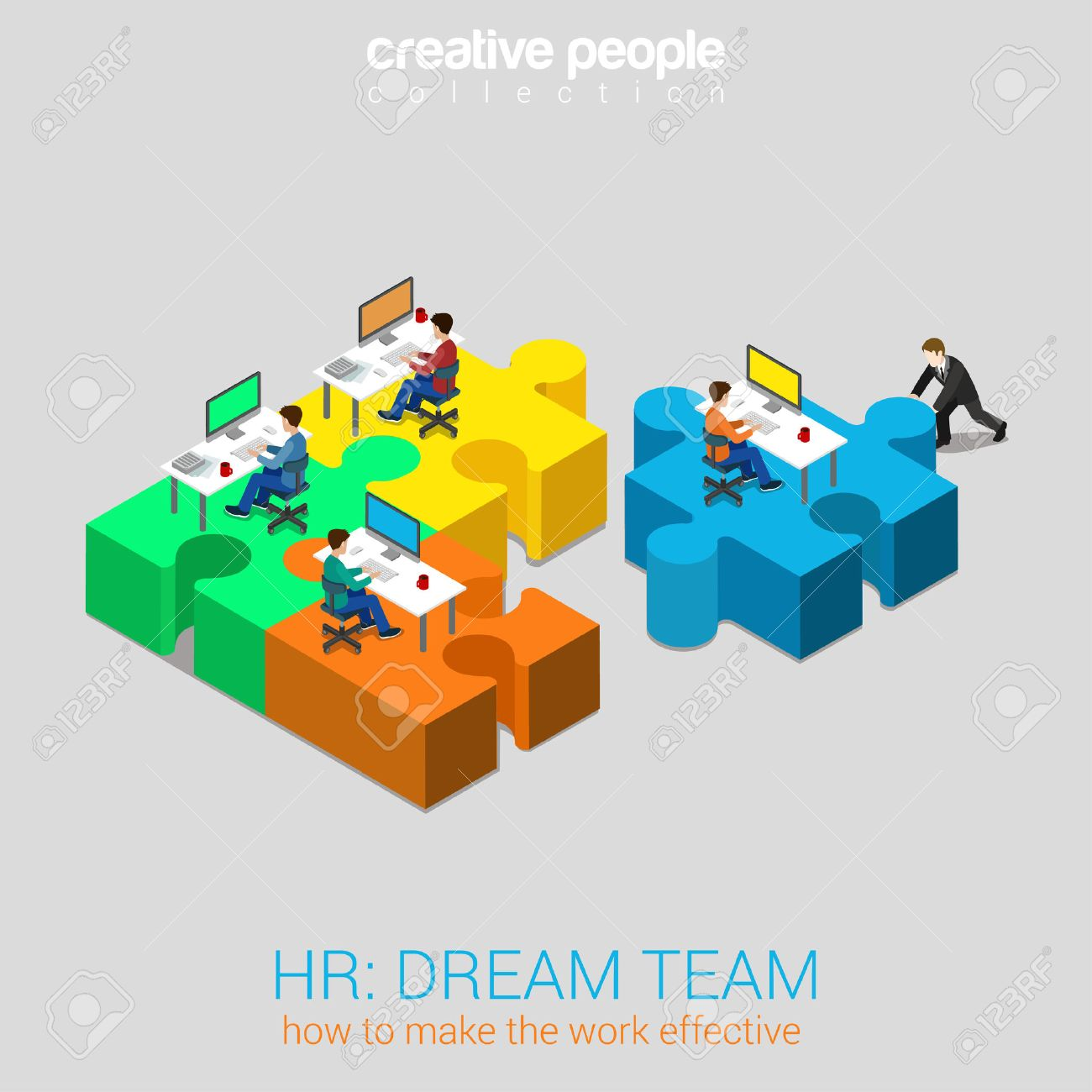 HR human relations dream team solution flat 3d web isometric infographic concept vector. Businessman pushing puzzle piece with company newbie workplace to the team. Creative people collection. Stock Vector - 48579022