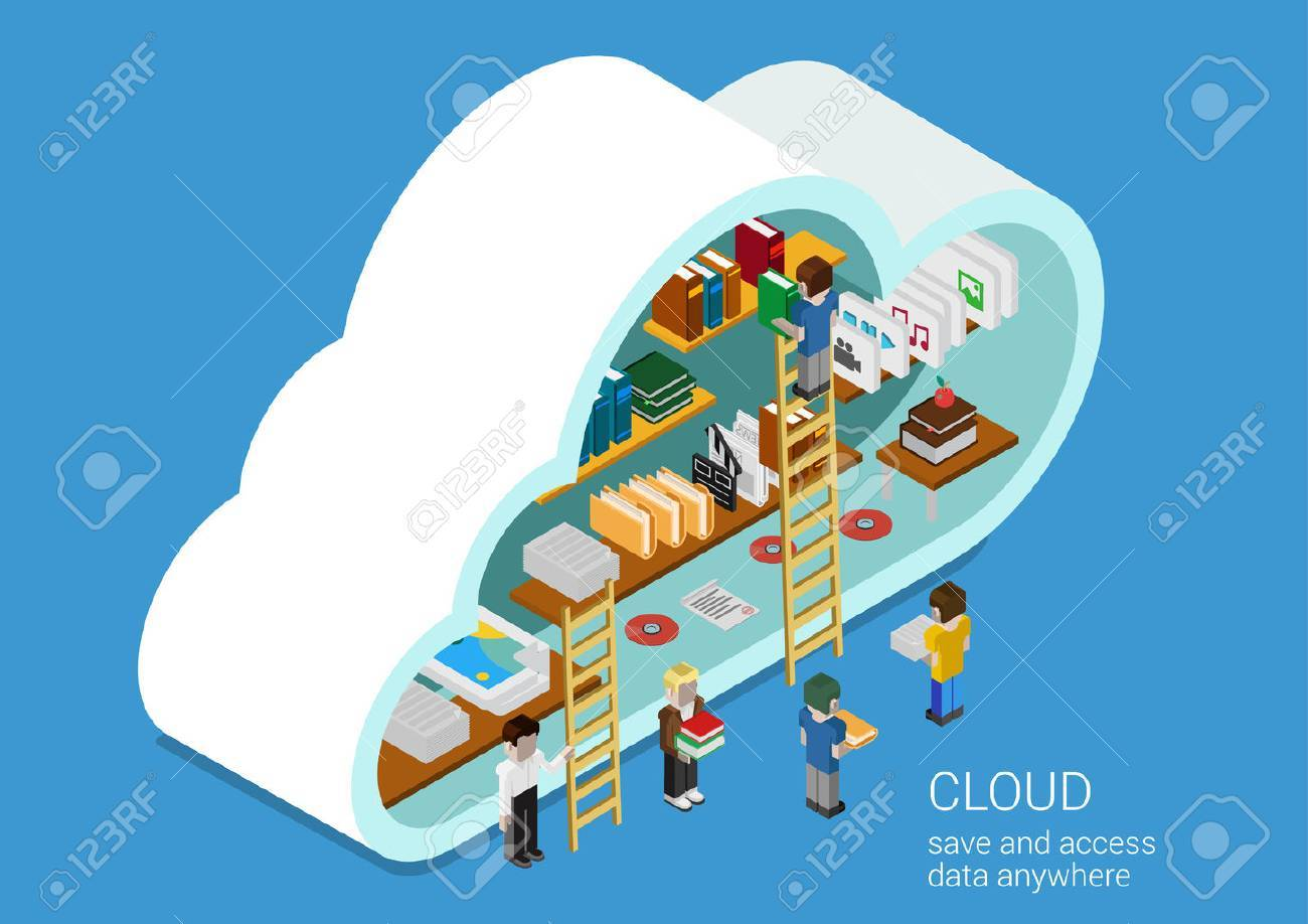 Modern 3d flat design isometric concept for cloud service online media file data backup storage. Cloud shape library shelf and people on the ladders upload download folder data disc information. Stock Vector - 48579043
