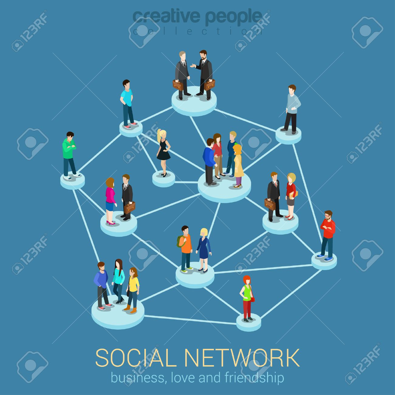 Social network media global people communication information sharing flat 3d web isometric infographic concept vector. Pedestals connection business love friendship. Creative people collection. Stock Vector - 48579045