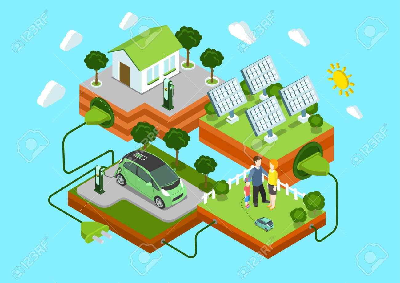 Flat 3d web isometric alternative eco green energy lifestyle infographic concept vector. Electric car sun batteries family house on green lawn cord connection. Ecology power consumption collection. Stock Vector - 48579047