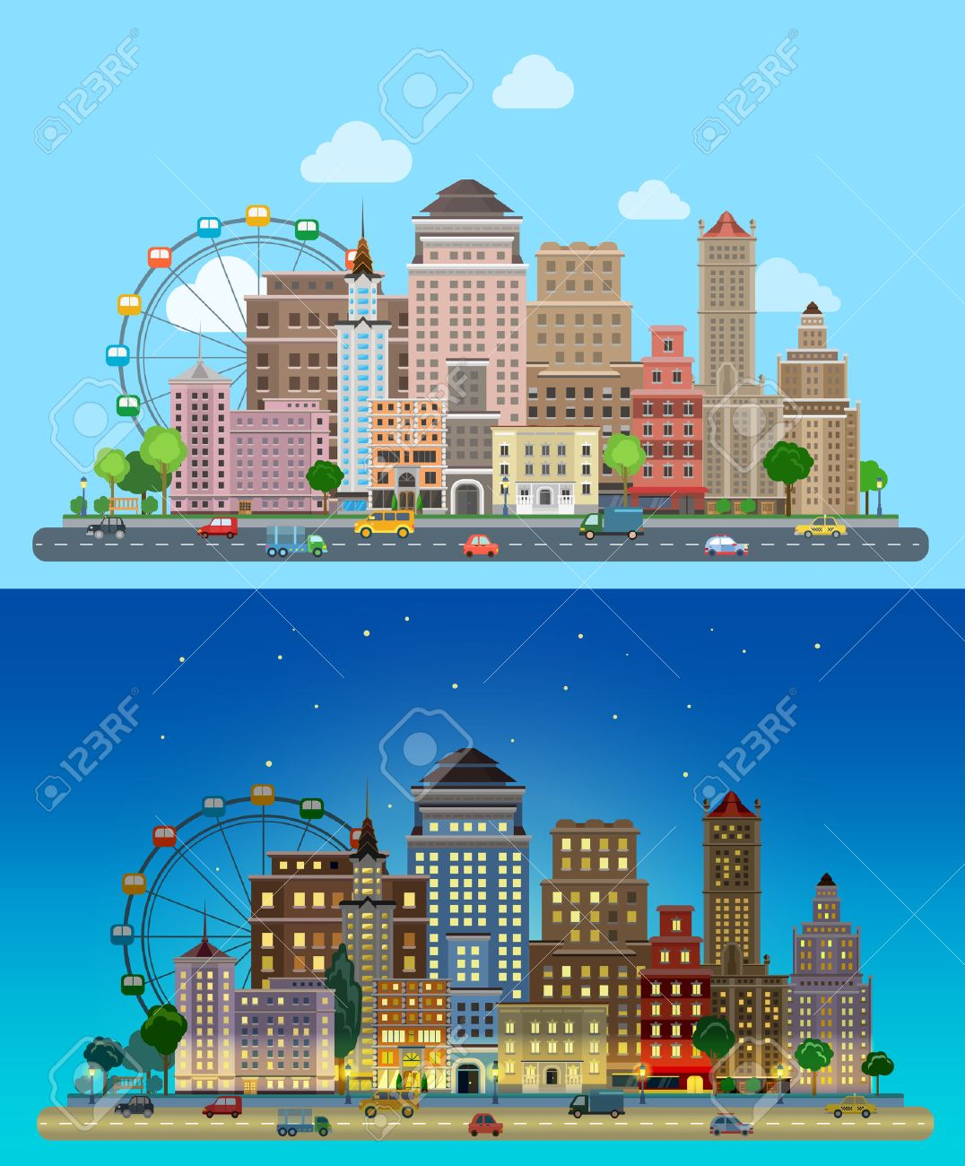 4df3a4fac8 Flat cartoon carousel historic skyscrapers city set day and night. Road  highway avenue transport street
