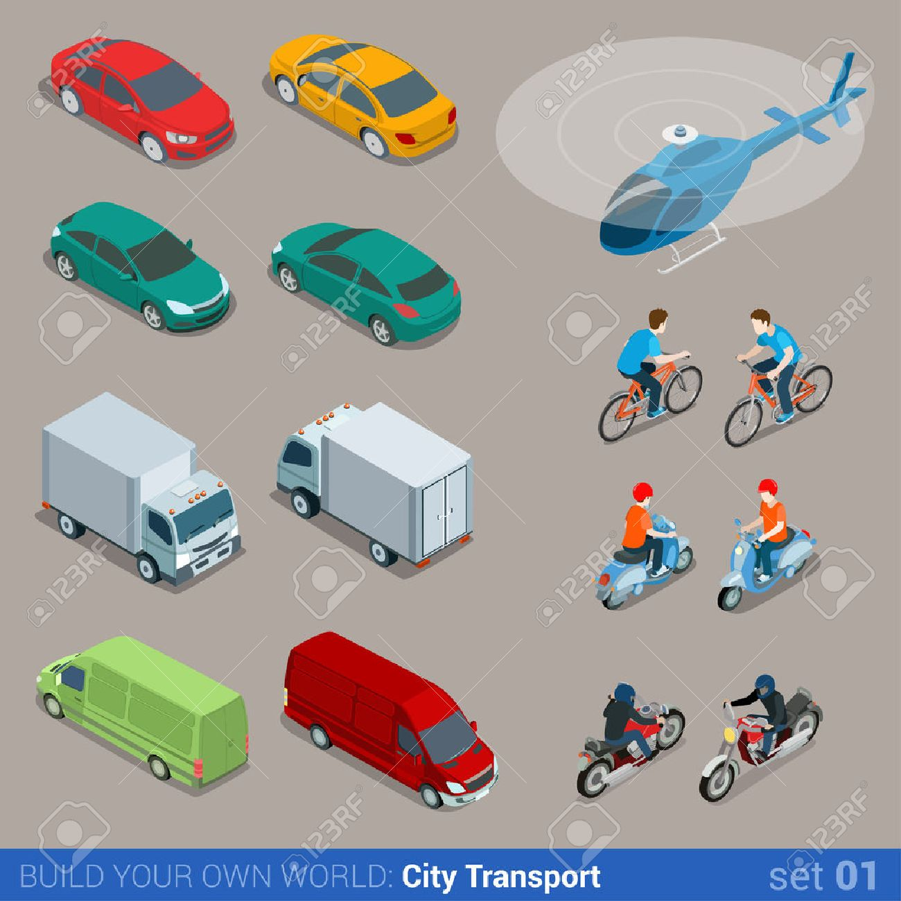 Flat 3d isometric high quality city transport icon set. Car van bus helicopter bicycle scooter motorbike and riders. Build your own world web infographic collection. Stock Vector - 48927578