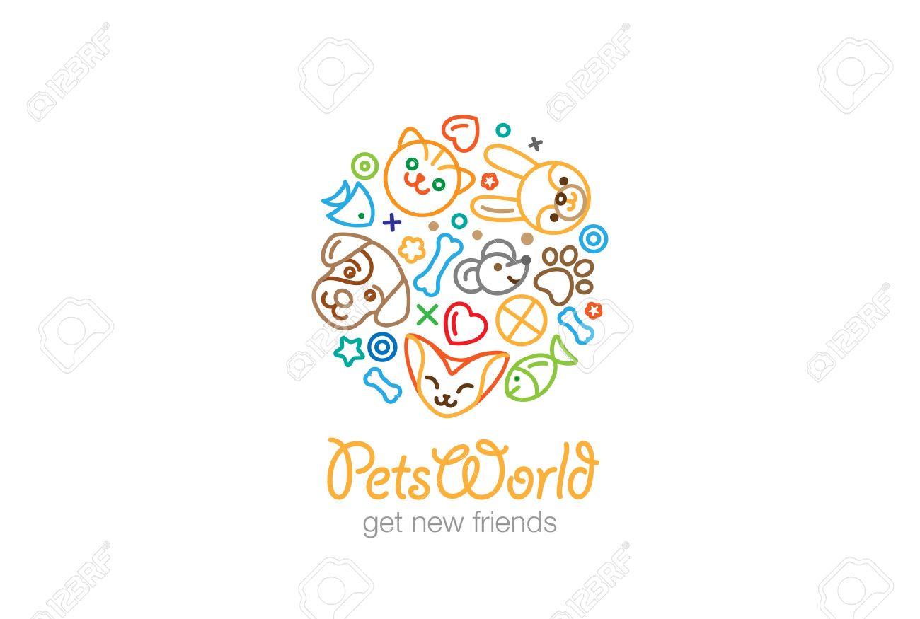 Pet Shop Veterinary Clinic Logo Design Vector Template Linear ...
