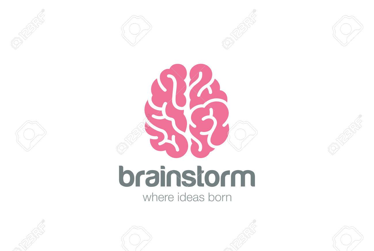 Brain Logo silhouette top view design vector template. Brainstorm think idea Logotype concept icon. - 52511490