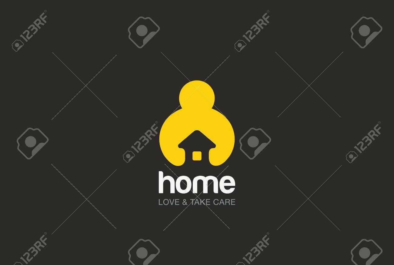 man holding hands house logo design vector template negative man holding hands house logo design vector template negative space style repair household service logotype