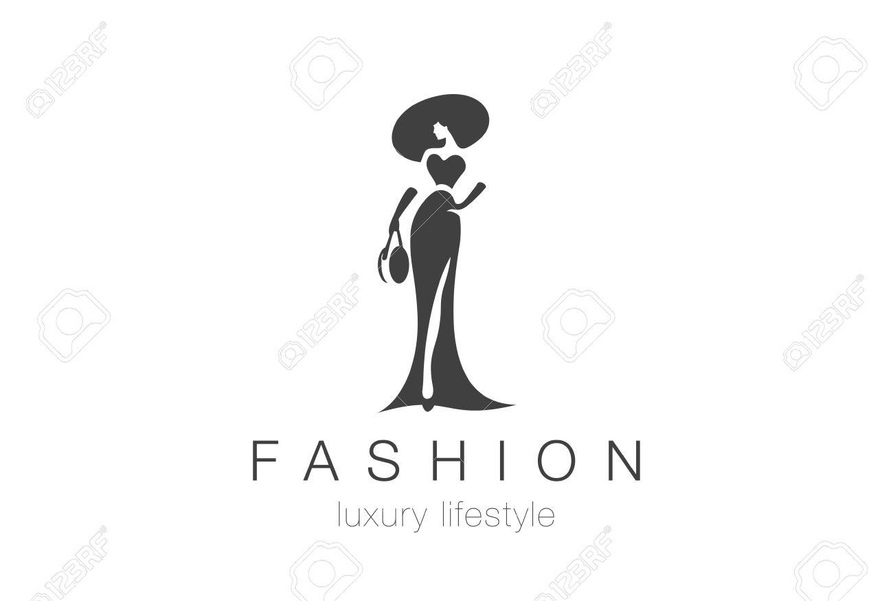 Fashion Luxury Glamour Elegant Woman Silhouette Logo Design Vector