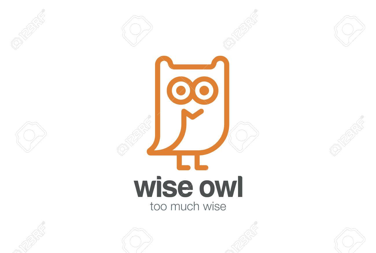 funny owl logo design vector template linear style abstract