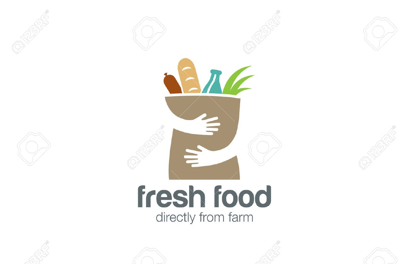 Fresh Food Shopping Logo design vector template. Hands Holding Bag Logotype concept negative space icon. - 52519785