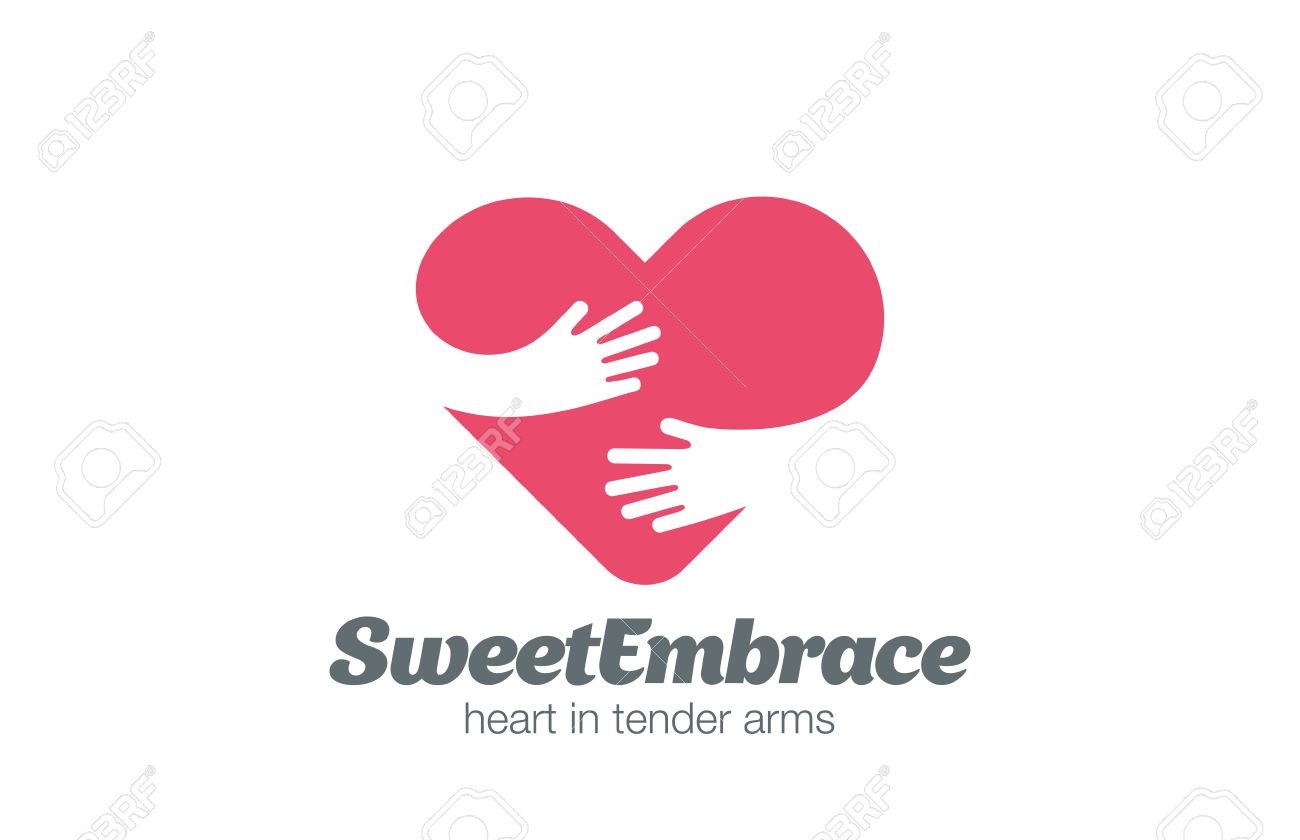Embrace Heart Shape Logo design vector template. Valentine Day Love Concept: Embracing Logotype negative space icon. Stock Vector - 52519787