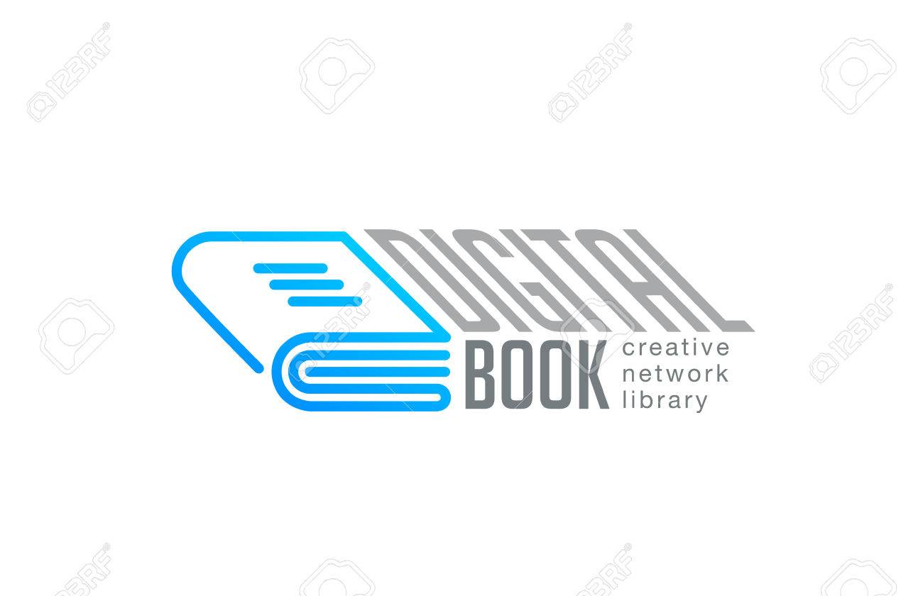Digital Book Logo Design Vector Template Linear Style Web Network