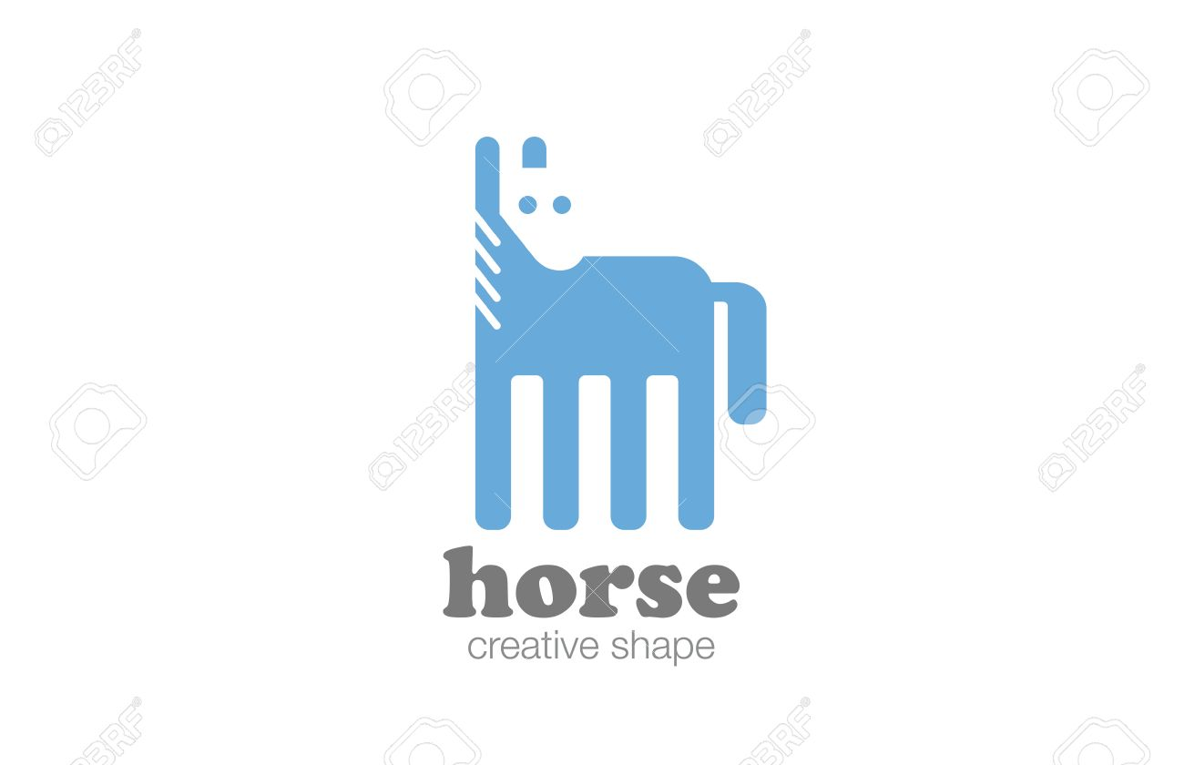 Horse Logo Flat Design Vector Template Negative Space Style Royalty Free Cliparts Vectors And Stock Illustration Image 52519802