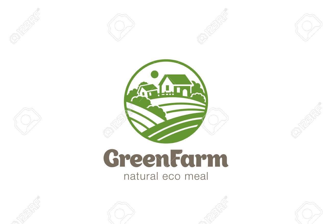 eco green farm circle logo design vector template natural organic