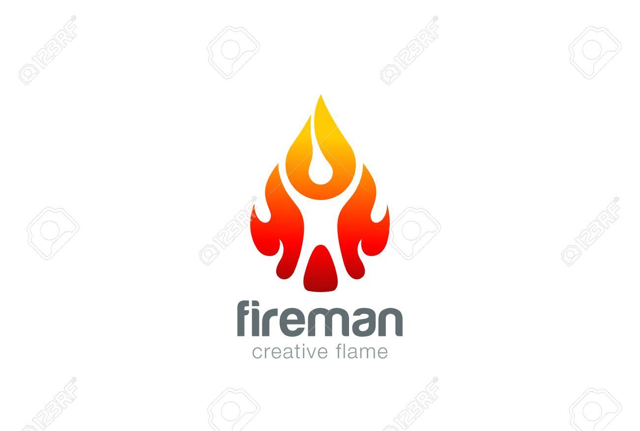abstract man in fire flame drop logo design vector template liquid